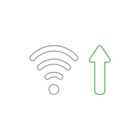 Vector icon concept of wifi wireless symbol with arrow moving up symbolizing high-speed internet connection. White background and colored outlines. Stock Illustratie