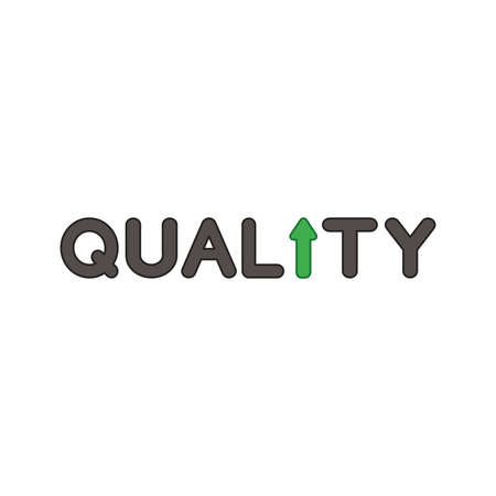 Vector icon concept of quality word text with arrow moving up. Colored outlines. Çizim