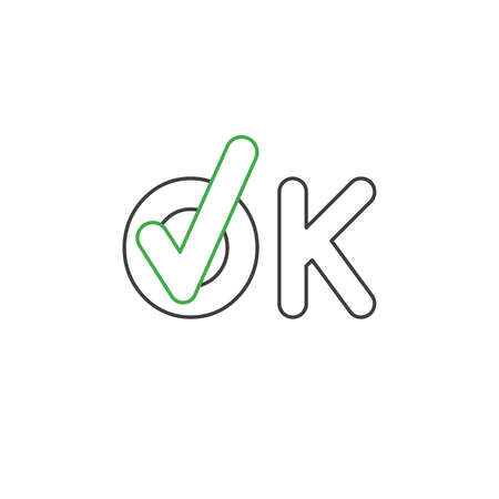 Vector icon concept of ok word text with check mark. White background and colored outlines.