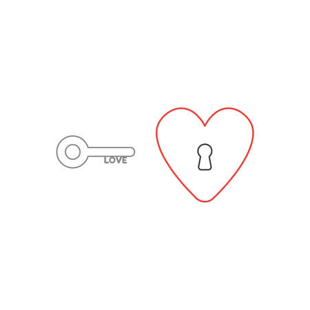 Vector icon concept of love key and heart with keyhole. White background and colored outlines.