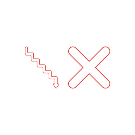 Vector icon concept of stairs with arrow pointing down and x mark. White background and colored outlines.