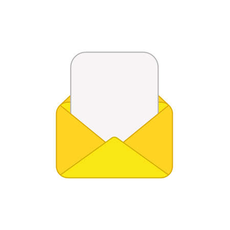Vector icon of opened mail envelope with blank paper. Colored outlines.