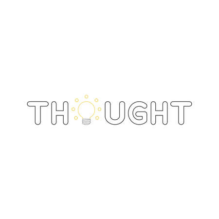Vector icon concept of thought word with glowing yellow light bulb. White background and colored.