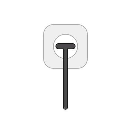 Vector icon concept of black electrical plug plugged into outlet. Colored outlines. Illustration