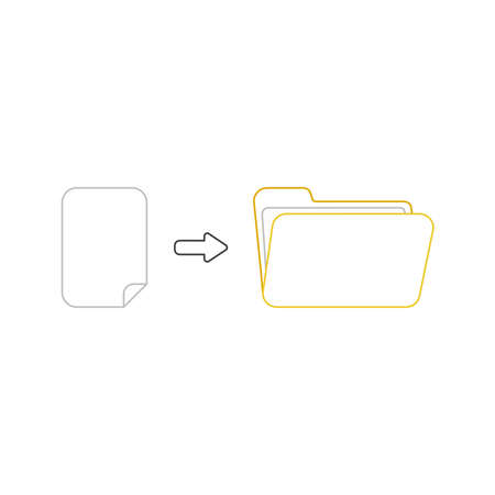 Vector icon concept of blank paper into yellow open folder. White background and colored.