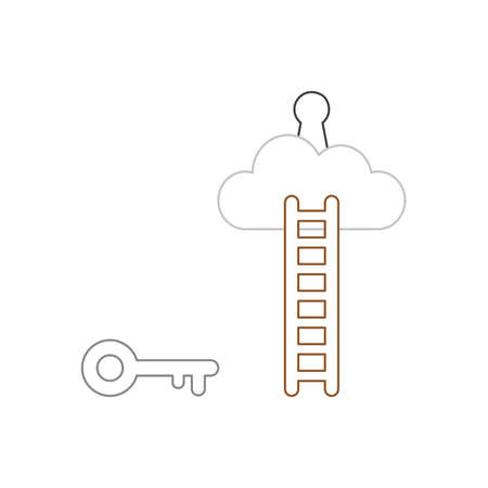 Vector icon concept of grey key reach keyhole on cloud with wooden ladder. White background and colored.