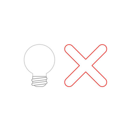 Vector icon concept of grey light bulb with red x mark. White background and colored.