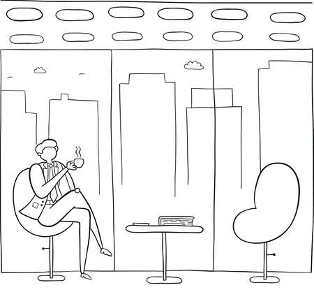 Businessman break time, drinking coffee or tea, hand-drawn vector illustration. Black outlines and white.