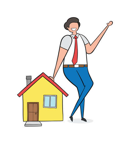 Realtor leaning on house, hand-drawn vector illustration. Balck outlines, colored.