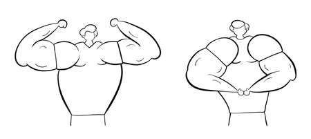Muscular men show their muscles, hand-drawn vector illustration. Black outlines and white.
