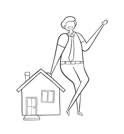 Realtor leaning on house, hand-drawn vector illustration. Balck outlines and white. Illustration