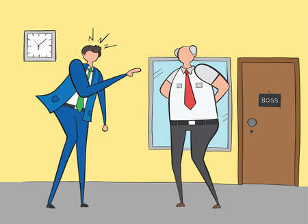 Businessman angry and shouting at his boss, hand-drawn vector illustration. Black outlines and colored. Ilustração