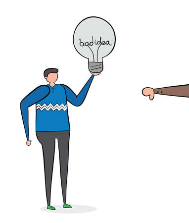 Man with bad idea light bulb and rejected with thumbs-down, hand-drawn vector illustration. Black outlines and colored.
