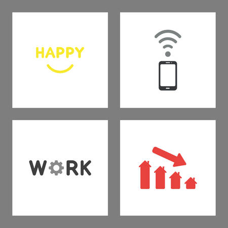 Vector icon concept set. Happy word with smiling mouth, smartphone with wireless signal, work with gear and house price chart down.