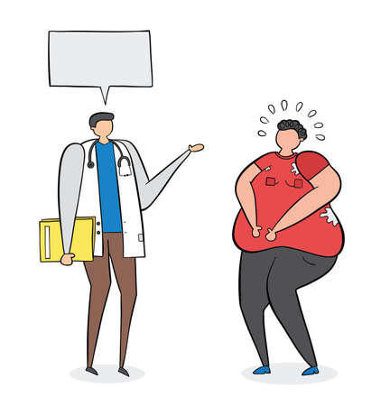 Dietitian talking with fat man, hand-drawn vector illustration. Black outlines and colored.