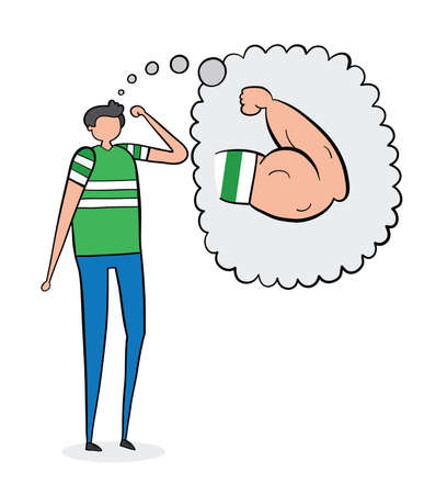 The weak man dreams of having muscular arms, hand-drawn vector illustration. Black outlines and colored. Ilustração