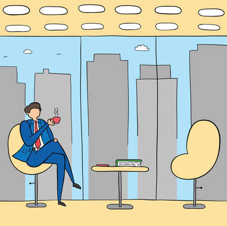Businessman break time, drinking coffee or tea, hand-drawn vector illustration. Black outlines and colored. Stock Illustratie