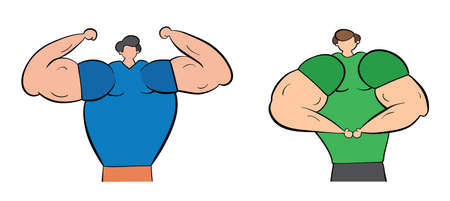 Muscular men show their muscles, hand-drawn vector illustration. Black outlines and colored.