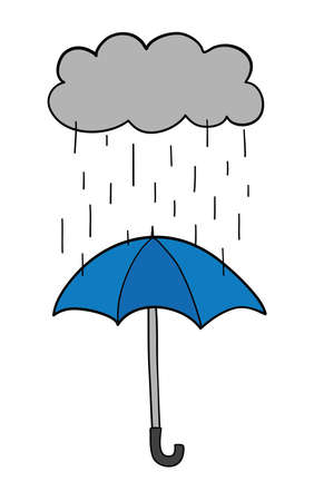 Vector hand-drawn illustration of its raining and opened umbrella. Black outlines and colored. Çizim