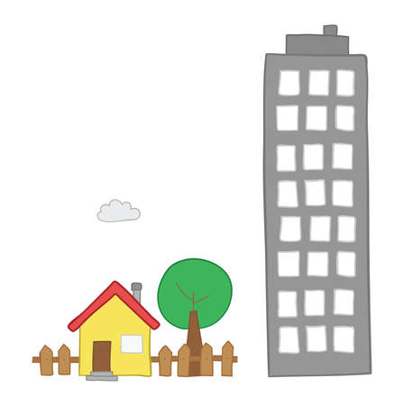 Vector hand-drawn illustration of detached house with garden, tree and tall building. Colored outlines and colored. Ilustração