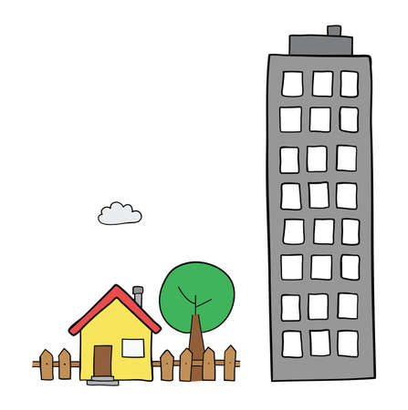 Vector hand-drawn illustration of detached house with garden, tree and tall building. Black outlines and colored.
