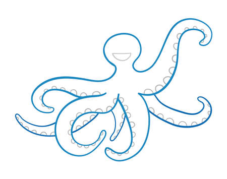 Vector hand-drawn illustration of blue octopus. Colored outlines and white background. Ilustração