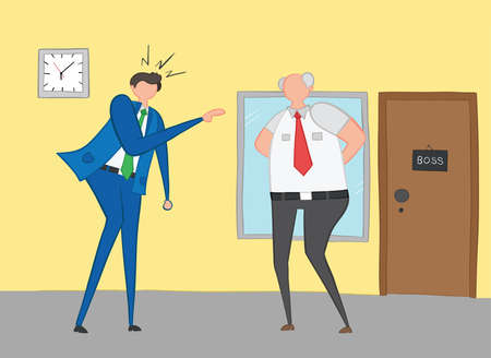 Businessman angry and shouting at his boss, hand-drawn vector illustration. Color outlines and colored. Ilustração