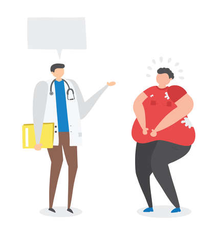 Dietitian talking with fat man, hand-drawn vector illustration. Colored flat style. Ilustração