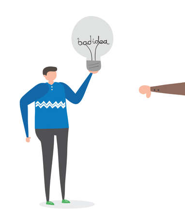 Man with bad idea light bulb and rejected with thumbs-down, hand-drawn vector illustration. Colored flat style.