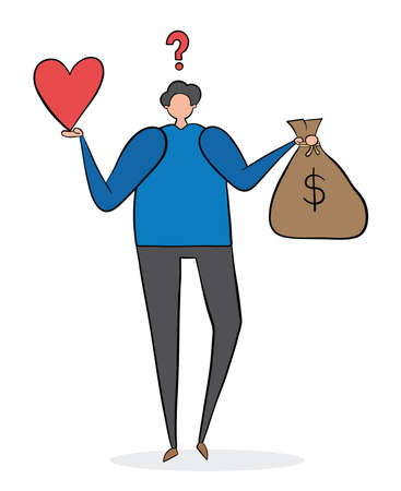 Confused man holding heart and a sack of money. Black outlines and colored.