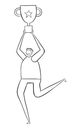 Man wins trophy and runs. Black outlines and white. Stock Illustratie