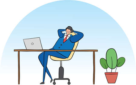 Business man very happy and sitting at his desk. Black outlines and colored. Ilustração