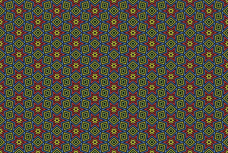 Seamless pattern. Black background and shaped stars and diamonds in green, yellow, blue and red colors.