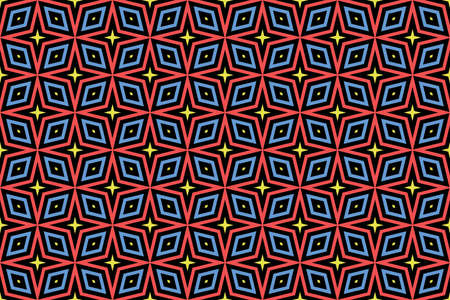 Seamless pattern. Black background and shaped stars and diamonds in yellow, red and blue colors.