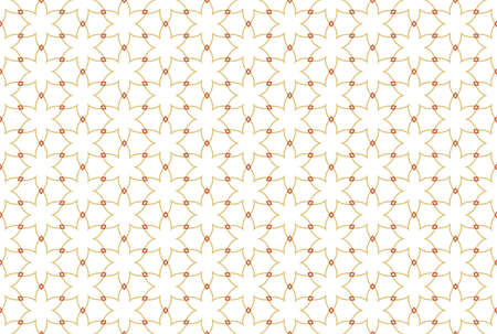 Seamless pattern. White background and six rayed stars with diamonds in brown color tones.