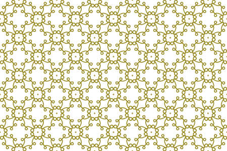 Seamless pattern. White background and round and intertwined lines in hacienda color. Stock Photo