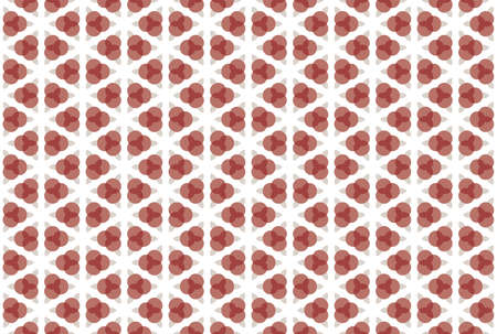 Seamless pattern. White background, geometric and shaped three overlapping circles, rounded diamonds in light and dark, brown and red colors.