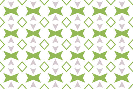 Seamless pattern. White background and shaped 45 degree rotated squares, diamonds, arrows in grey and green colors.