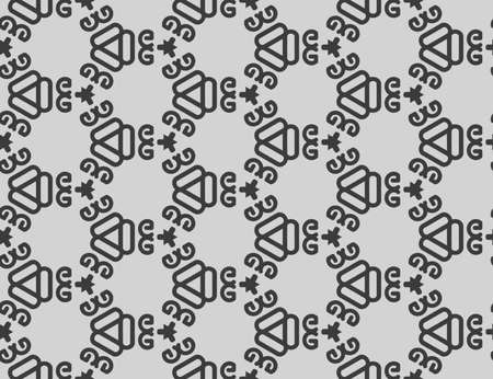 Seamless geometric pattern. Grey background and black lines.
