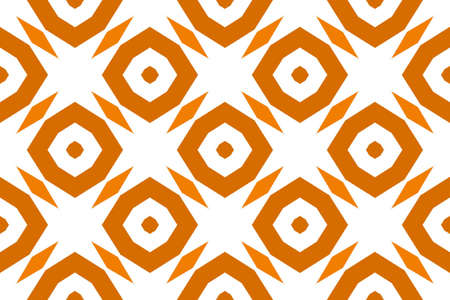 Seamless geometric pattern. Shaped brown octagonals and diamonds on white background. Stockfoto