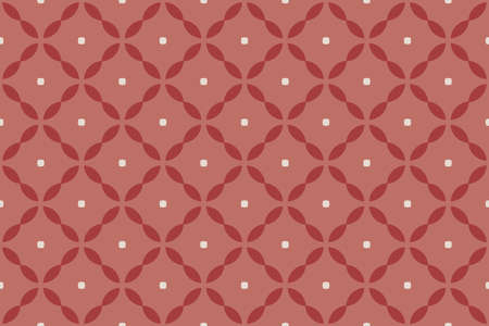Seamless pattern. Geometric and octagonal and knitting rounded diamonds in white and light, dark red colors.