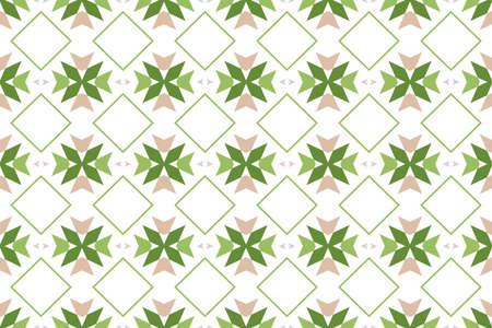 Seamless pattern. White background and shaped 45 degree rotated squares, diamonds, triangles and arrows in cream, grey, light and dark green colors. Stockfoto