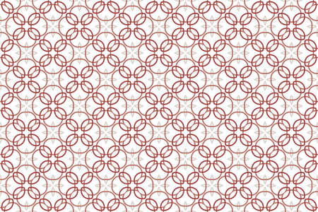 Seamless pattern. White background and intertwined lines, circles, rounded diamonds and four pointed stars in light and dark red and light brown, cream colors. Stock Photo