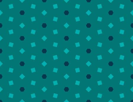 Seamless geometric pattern. Shaped dark blue and matt light square on dark matt green background.