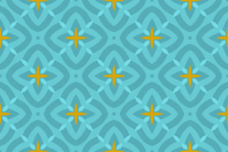 Seamless geometric pattern. Shaped turquoise and yellow rounded diamonds and stars on turquoise background. Stockfoto