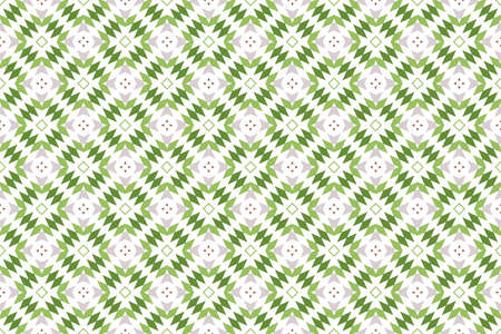 Seamless pattern. White background and shaped triangles, diamonds and arrows in grey, brown, light and dark green colors. Stockfoto