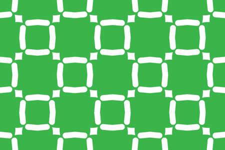 Seamless geometric pattern. Shaped white squares and diamonds on green background. Stockfoto