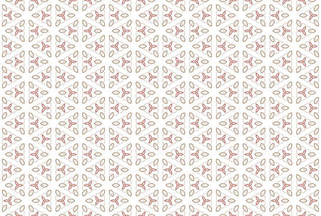 Seamless pattern. White background and shaped rounded diamonds, three pointed stars and three overlapping circles in grey, red and brown colors.
