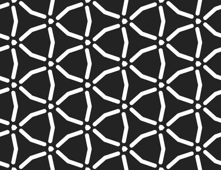 Vector seamless geometric pattern. White lines and black background.