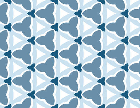 Vector seamless geometric pattern. In blue color tones and white color. Ilustração